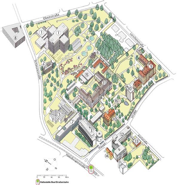 Stadtkarte, Ausschnitt Außenkliniken und Botanischer Garten