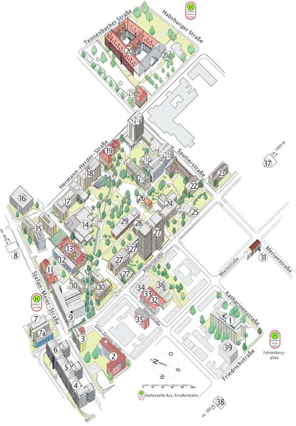 Stadtkarte, Ausschnitt Institutsviertel (Naturwissenschaften) / Rektorat