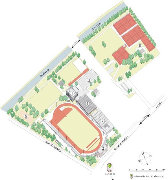 Stadtkarte, Ausschnitt Sportzentrum