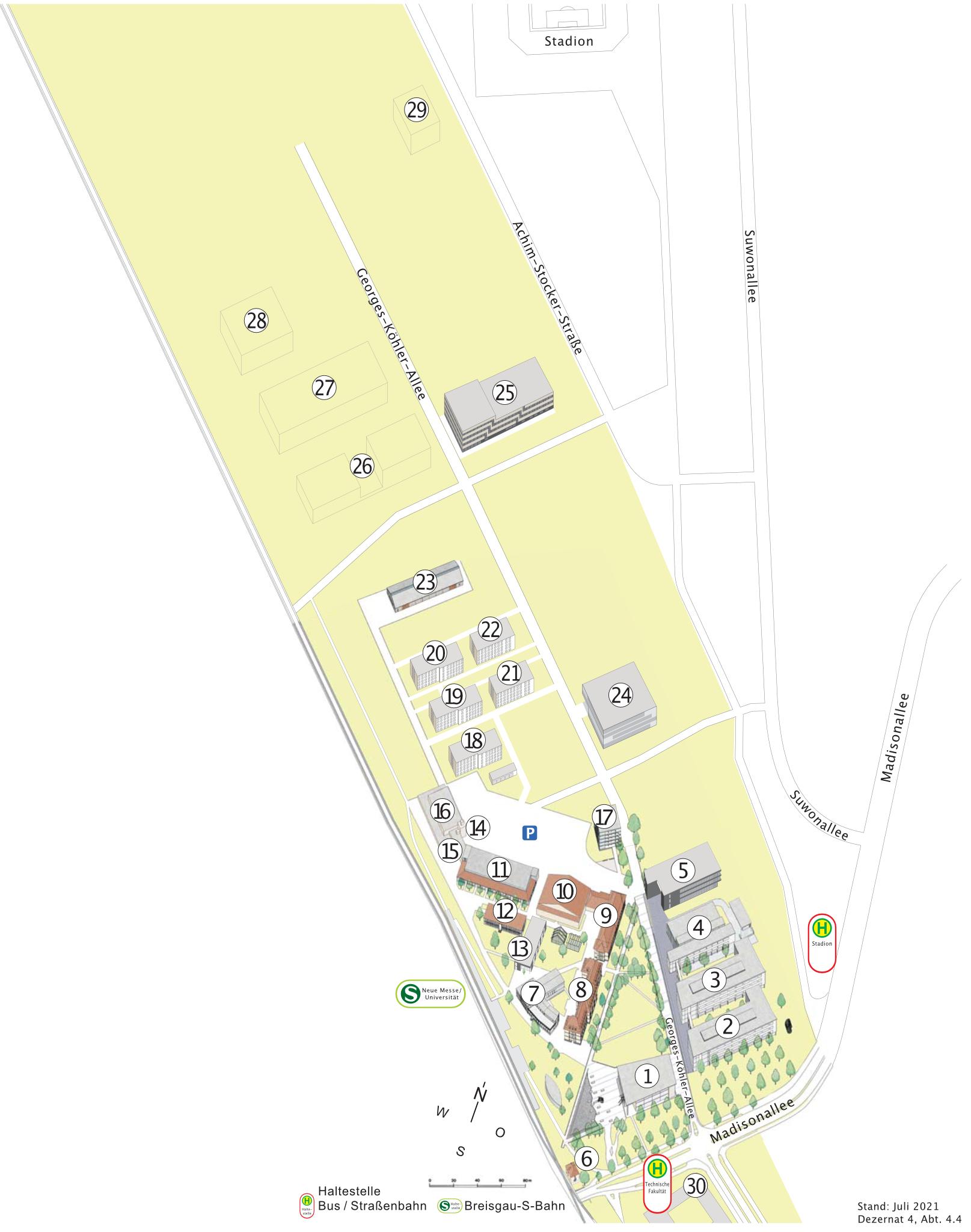 Stadtkarte, Ausschnitt Lageplan Technische Fakultät (Flugplatz)